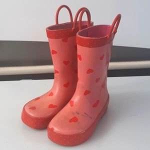Other - 💥2/$15💥girls size 9 rainboots red/pink w/hearts